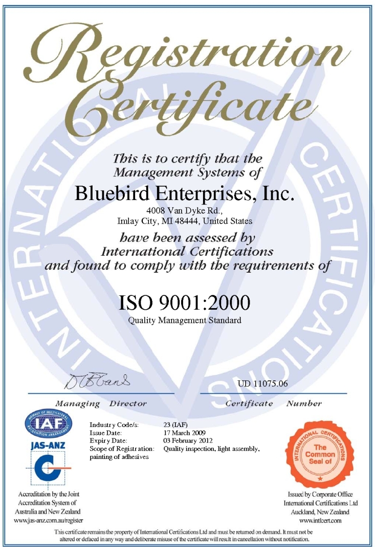 Bluebird Enterprise, Inc ISO Certificate